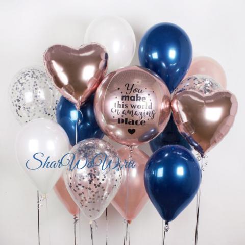 Сет воздушных шаров в палитре розовое золото с насыщенным зеркальным синим
