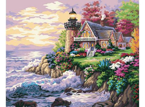 Алмазная Мозаика 30x40 Дом с маяком в море