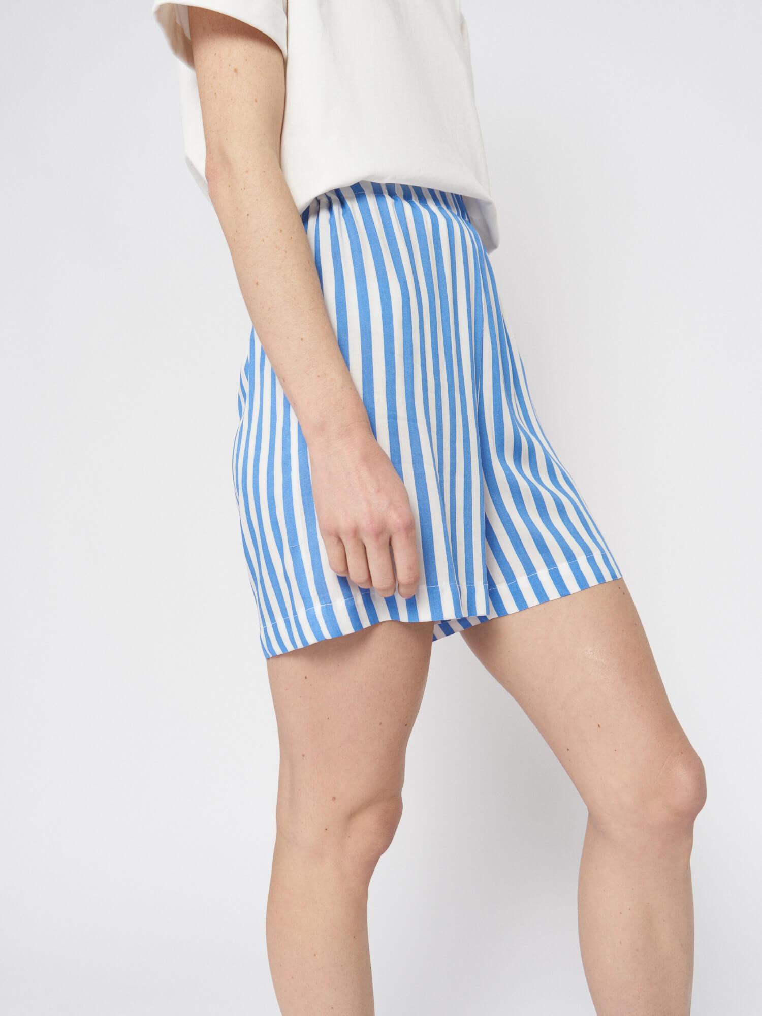 Мини–шорты в полоску Lexi в пижамном стиле, Голубой