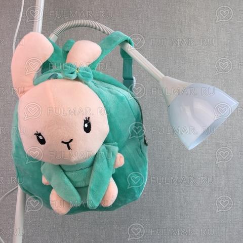 Детский мягкий рюкзак для девочки с игрушкой Бирюзовый Зайка