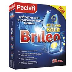 Таблетки для посудомоечных машин Paclan Brileo All in One Gold (25 штук в упаковке)