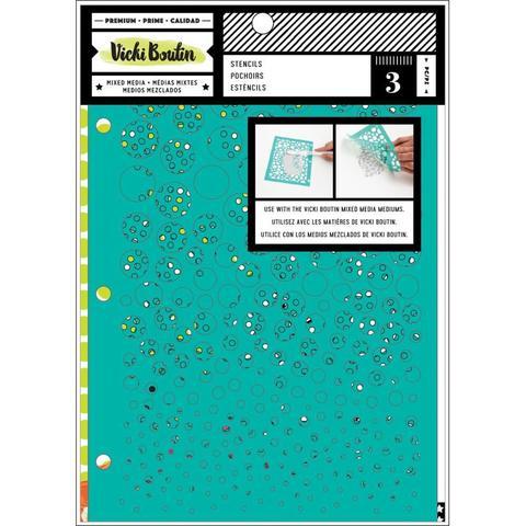 Набор масок (трафаретов )  Vicki Boutin Mixed Media Stencils - Kaleidoscope - 3шт.
