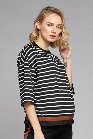 Джемпер для беременных 10767 черно-кремовый