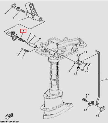 Вал переключения для лодочного мотора F5 Sea-PRO(15-4)