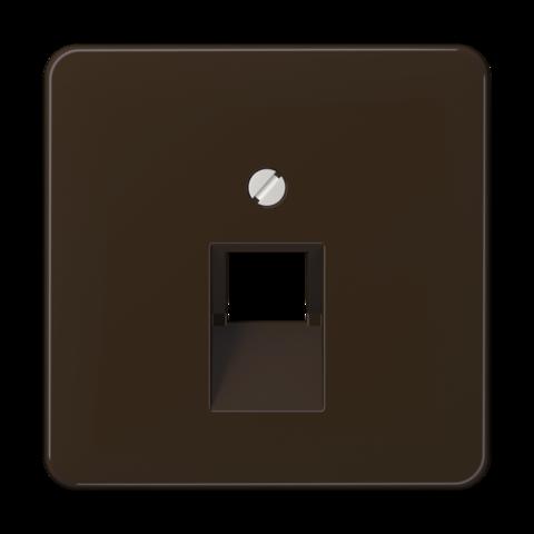 Накладка одинарной наклонной tel/comp розетки. Цвет Коричневый. JUNG CD. CD569-1UABR
