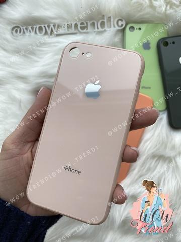 Чехол iPhone 7/8 Glass Pastel color Logo /pink sand/
