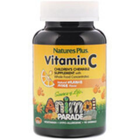 Nature's Plus, Source of Life, Animal Parade, витамин C, жевательная добавка для детей, вкус натурального