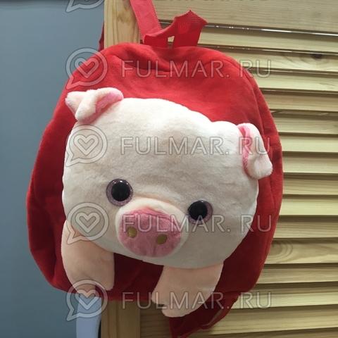 Детский рюкзак плюшевый новогодний 2019 Поросёнок Красный глаза с блёстками