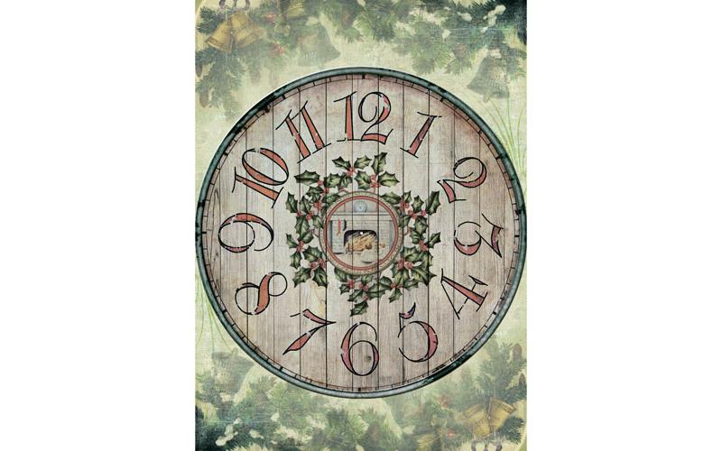 Рисовая бумага для декупажа Деревянные часы, А3