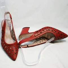 Модные туфли женские кожаные летние G.U.E.R.O G067-TN Red.