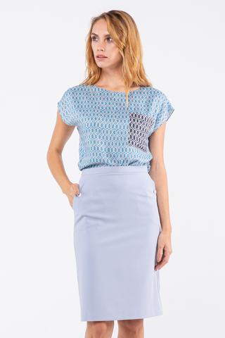 Фото голубая летняя блуза с удлиненным плечом и геометрическим принтом - Блуза Г708-352 (1)