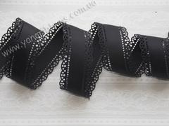 Лента репсовая перфорированная черная ширина 30 мм