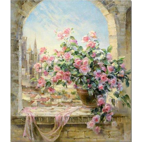Алмазная Мозаика 30x40 Букет розовых роз на окне