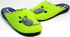 Удобные домашние тапочки женские Inblu NC- 1B Mouse Light Green