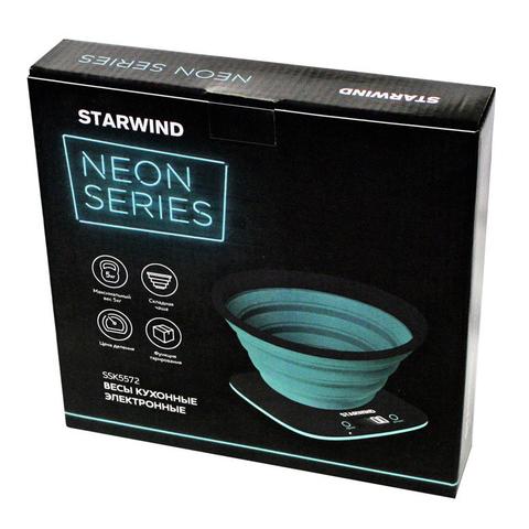 Весы кухонные электронные Starwind, до 5 кг, серые/бирюзовые