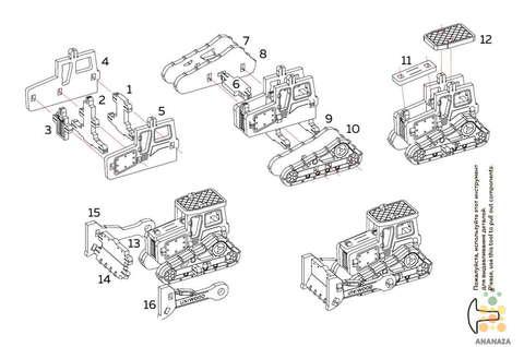 Трактор UNIT (UNIWOOD) - Инструкция - Деревянный конструктор, 3D пазл, сборная модель
