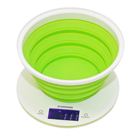 Весы кухонные электронные Starwind, до 5 кг, 2хCR2032, зеленые