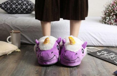 Тапочки единороги фиолетовые женские