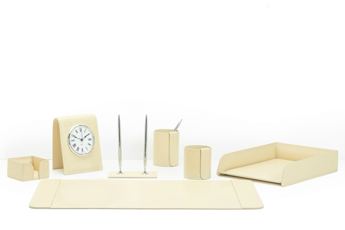 офисный набор с часами 7 предметов из кожи цвет Treccia/слоновая кость