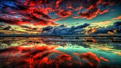 Картина раскраска по номерам 40x50 Красный закат над водой