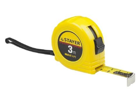 STAYER MaxTape 3м / 16мм рулетка в ударопрочном корпусе из ABS