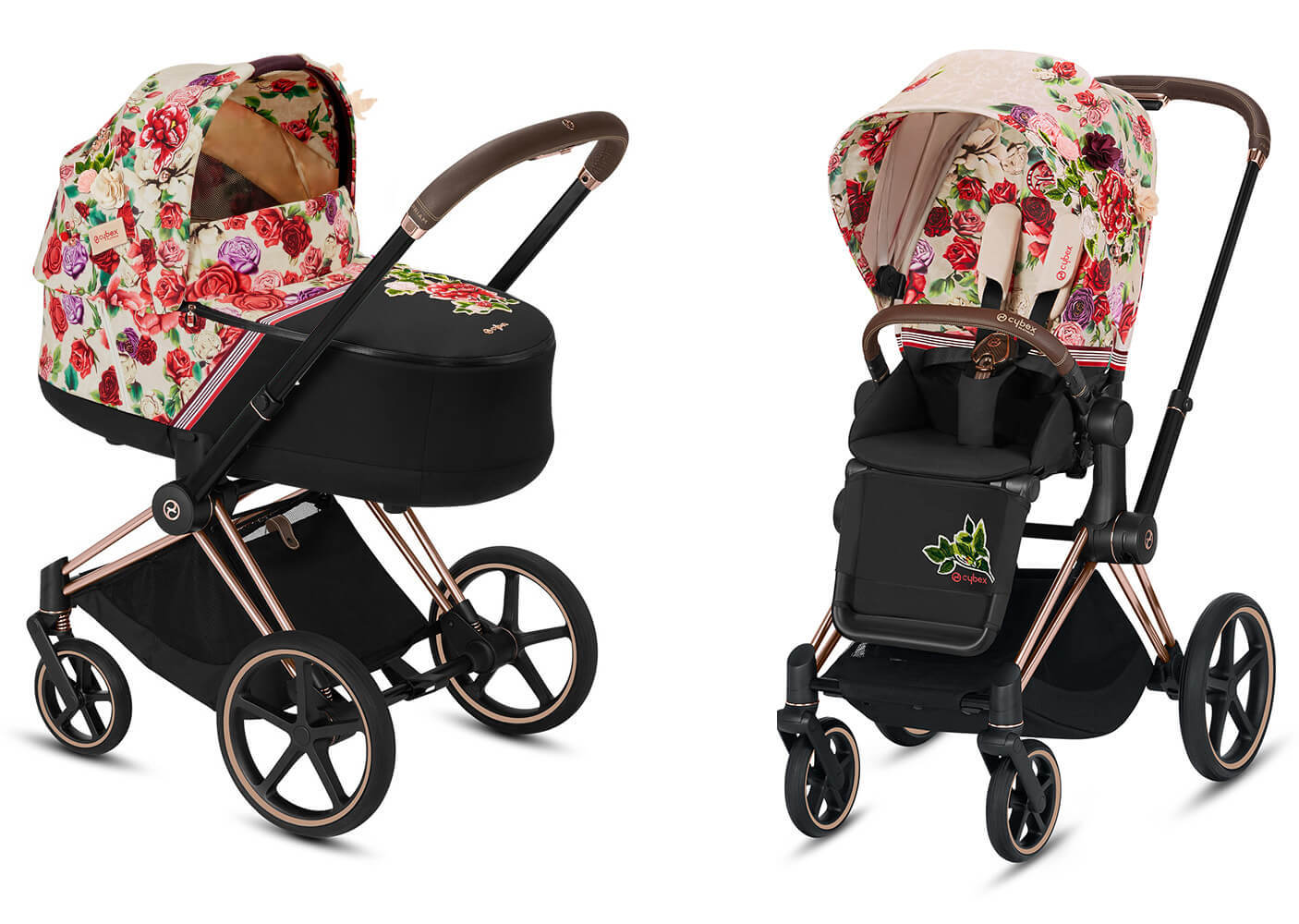 Цвета Cybex Priam 2 в 1 Детская коляска Cybex Priam III 2 в 1 FE Spring Blossom light шасси Rosegold cybex-priam-iii-2-in-1-spring-blossom-light.jpg