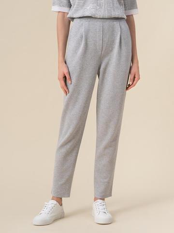 Женские брюки с защипами серебряного цвета из вискозы - фото 2