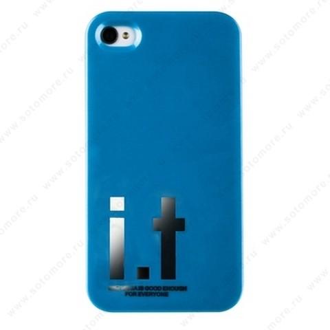 Накладка i.t с водонепроницаемым мешком для iPhone 4s/ 4 с большими буквами голубая