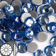 Стразы горячей фиксации клеевые стеклянные Light Sapphire Лайт Сапфир светло-синий купить оптом на StrazOK.ru