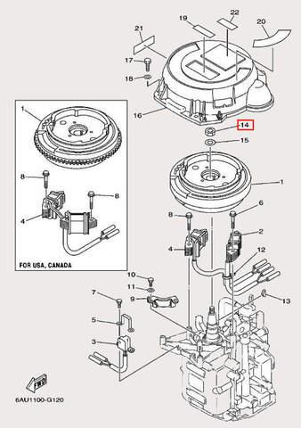 Гайка маховика M12×1.25 для лодочного мотора F9,9 Sea-PRO (11-14)