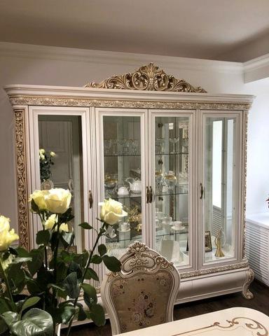 Шкаф-витрина АЛСУ 4-х створчатый крем глянец