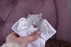 Нарядный комплект боди+носочки Ангел (серебро)
