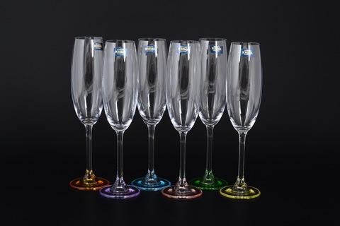 Набор из 6 цветных фужеров для шампанского Gastro Арлекино, 220 мл