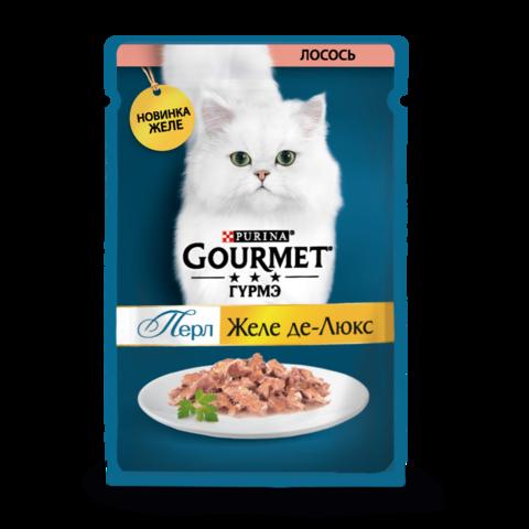 Gourmet Perle Консервы для кошек с Лососем Желе Де-люкс (Пауч)