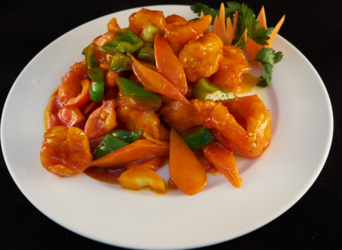 Креветки с ананасами в кисло-сладком соусе菠萝咕咾虾400гр