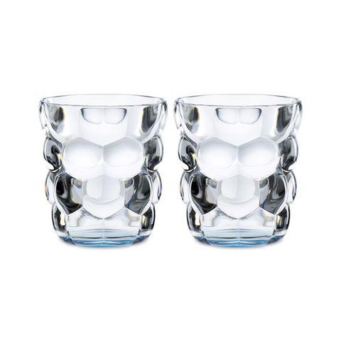 Набор из 2 стаканов для воды с голубым донышком Bubbles, 330 мл
