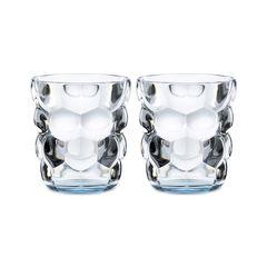 Набор из 2 стаканов для воды с голубым донышком Bubbles, 330 мл, фото 1