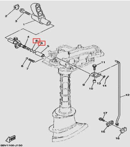 Кольцо уплотнительное 8X2 для лодочного мотора F5 Sea-PRO(15-6)