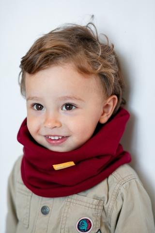 Детский снуд-горловинка из хлопка гладкий винно-бордовый