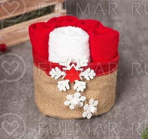 Новогодний Набор полотенец в корзинке с деревянной Снежинкой (3 шутки 30х30 см)