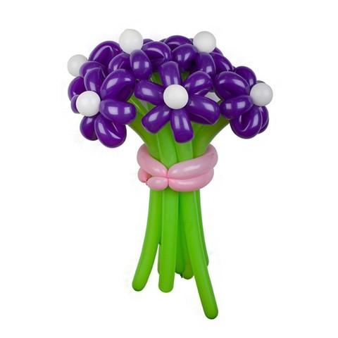 Ромашки из шаров фиолетовые