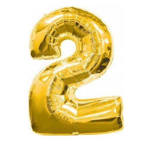 Фольгированная цифра золотая 2