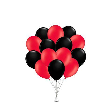 Воздушные шары с гелием Черно-красные