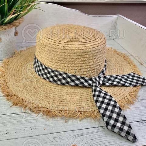 Шляпа соломенная женская с черно-белой лентой