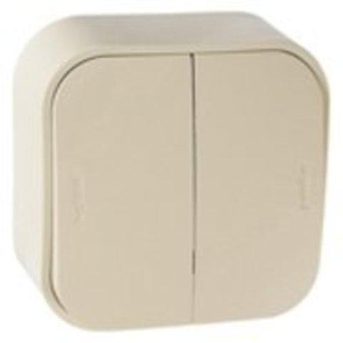 Выключатель двухклавишный - 10 AX - 250 В~. Цвет Слоновая кость. Legrand Quteo (Легранд Кутео). 782232