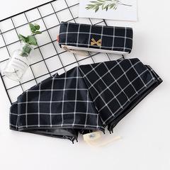 Японский плоский маленький зонт фирмы Yoco с защитой от солнца (черная клетка)