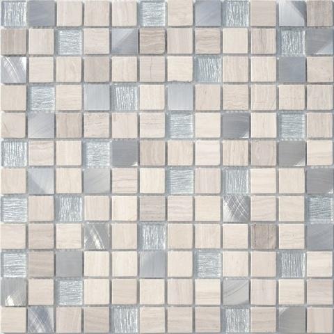 Мозаика стеклянная с камнем Silver Flax 23x23x4 298х298
