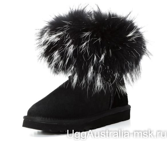 Ugg Fox Fur Mini Black & White