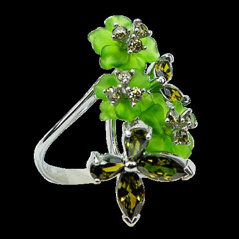 Кольцо с цветами из кварца и фианитами