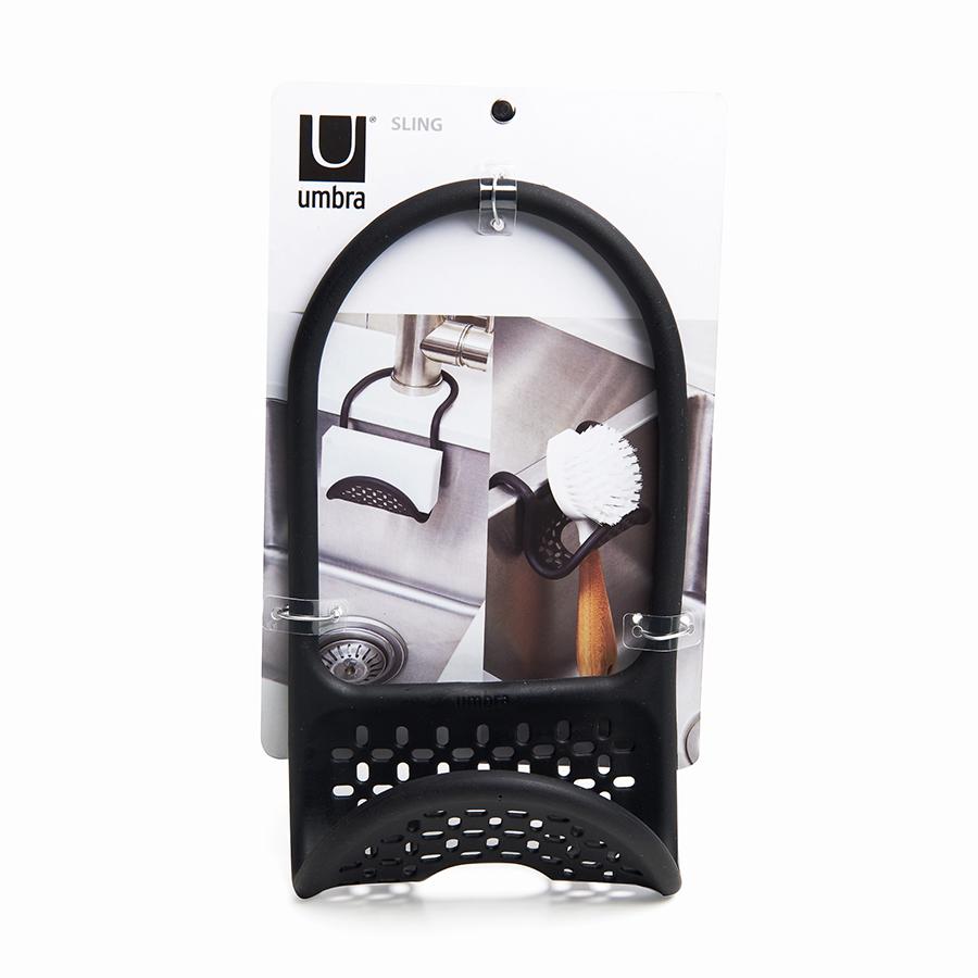 Органайзер-держатель на кран для губки в раковину на кухню SLING чёрный Umbra 1004294-040 | Купить в Москве, СПб и с доставкой по всей России | Интернет магазин www.Kitchen-Devices.ru